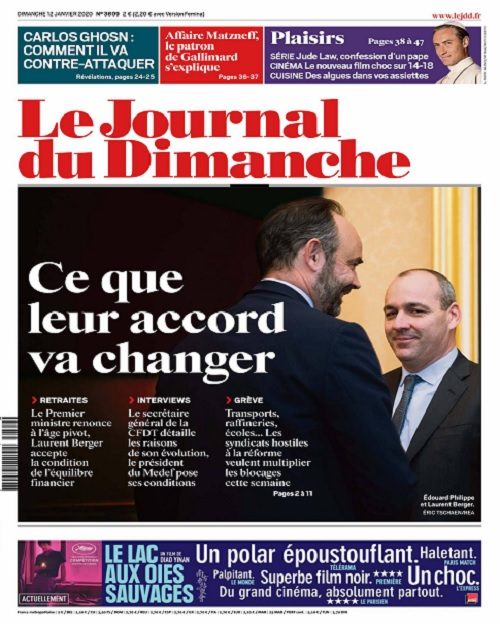 Le Journal Du Dimanche N°3809 Du 12 Janvier 2020